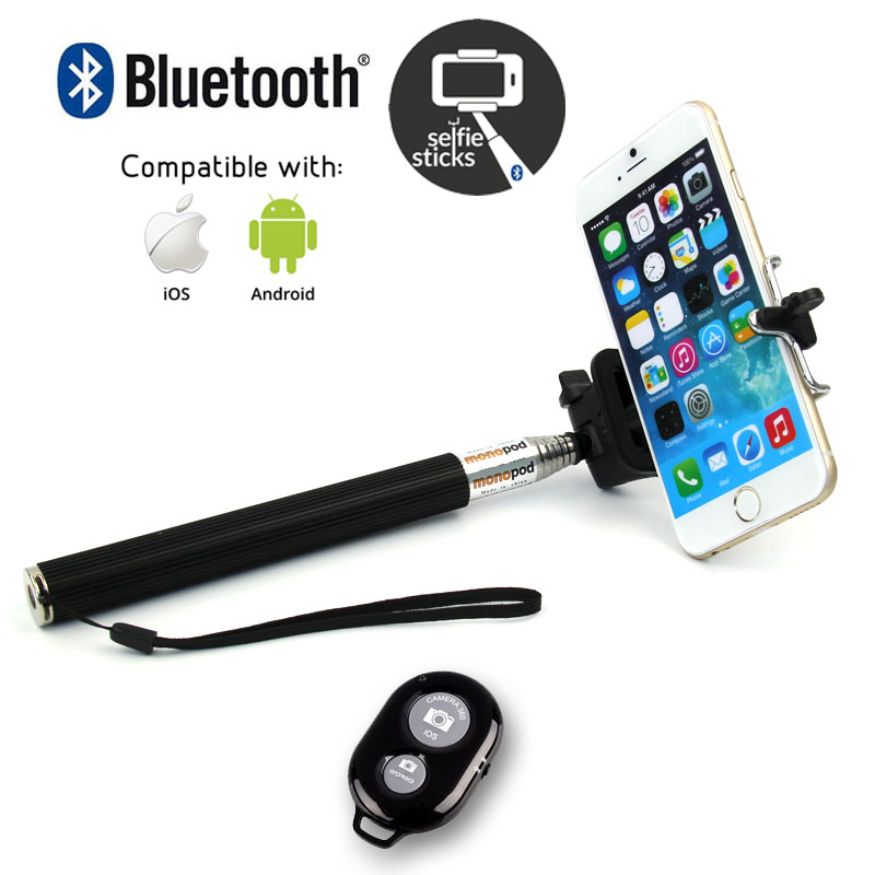 extendable telescopic monopod selfie stick bluetooth remote shutter for iph. Black Bedroom Furniture Sets. Home Design Ideas