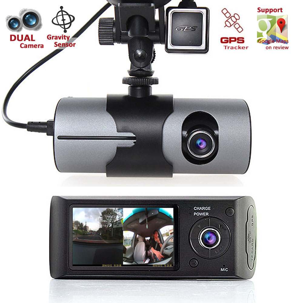 "Dash Cam 2.7"" TFT LCD HD Dual Camera Car DVR Black Box w ..."