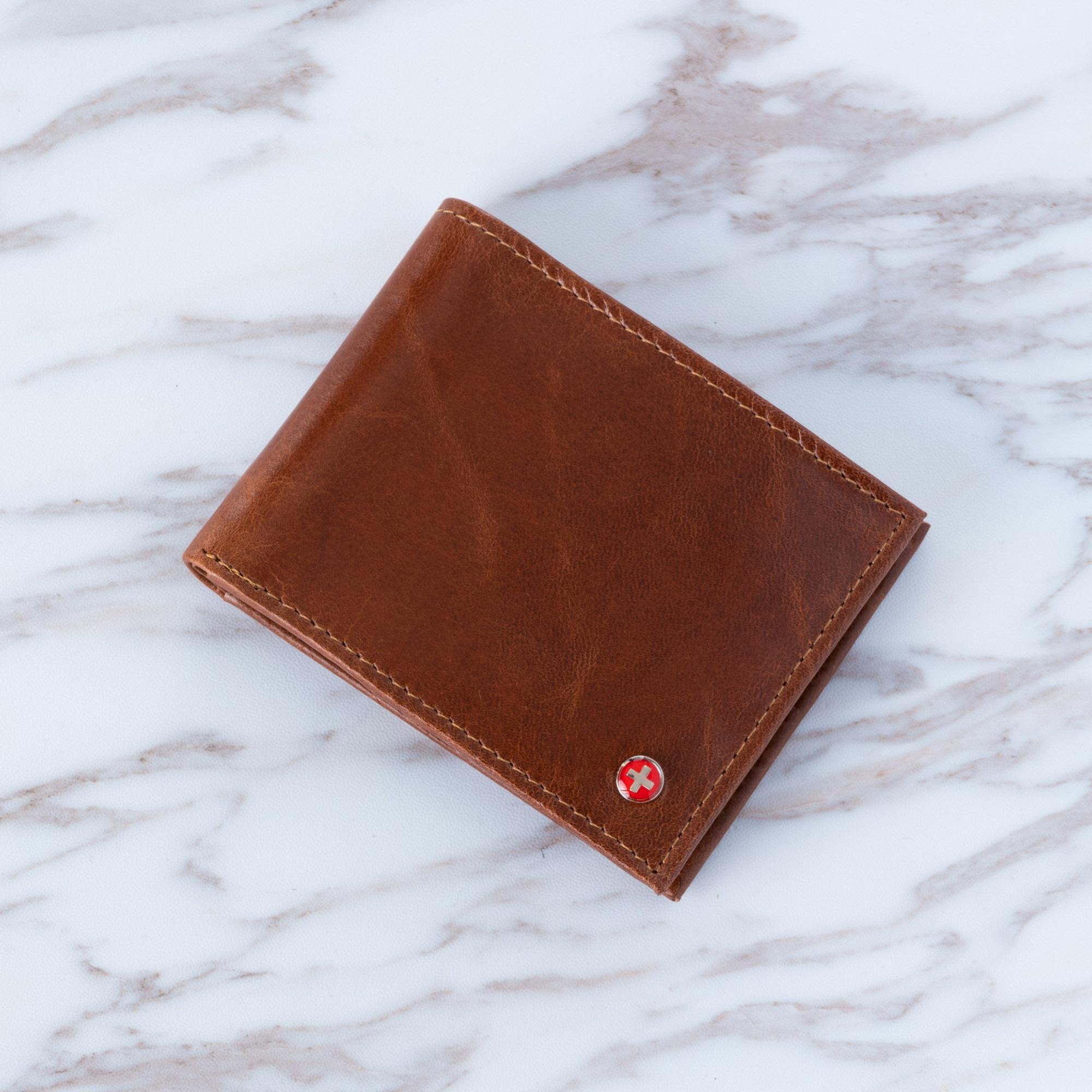 Alpine Swiss Mens RFID Blocking Leather Wallet Multi Card High Capacity Bifold