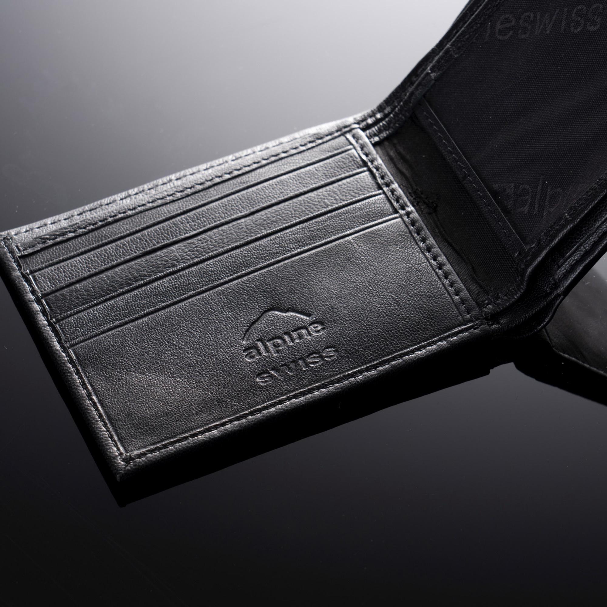 Alpine Swiss Mens Leather Wallet Multi Card Flip ID High Capacity Compact Bifold