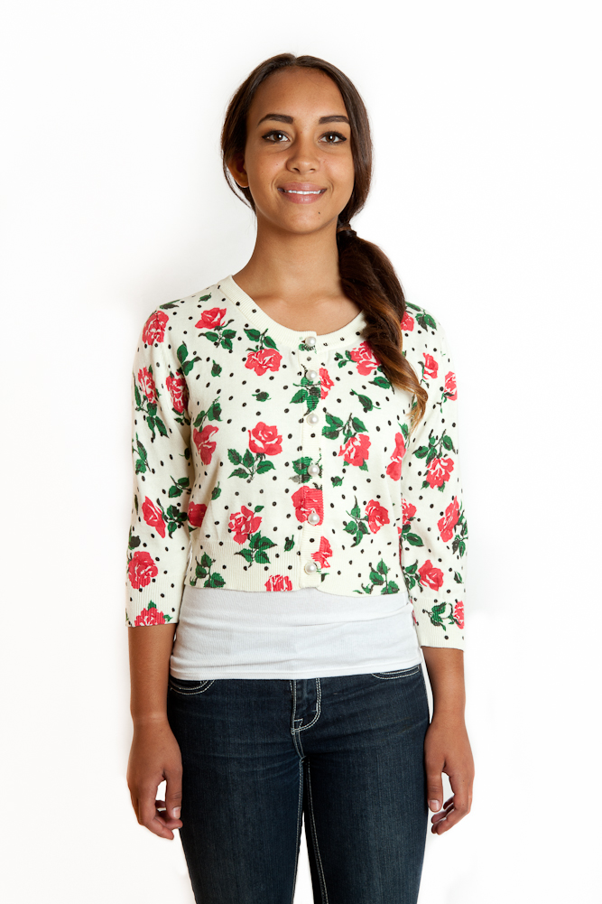 Tulle Clothing Tulle Clothing 3/4 Sleeve Cropped Floral Cardigan