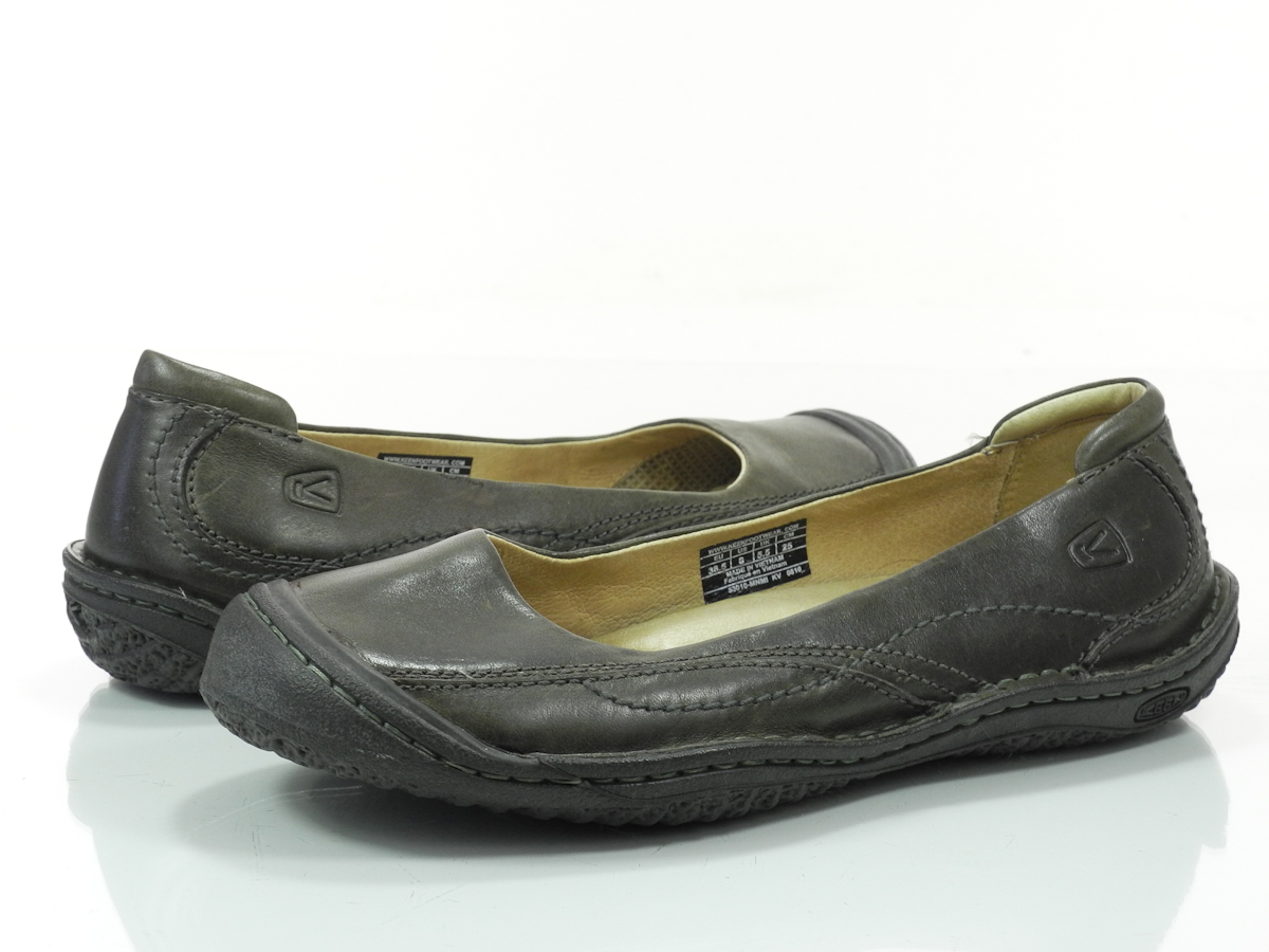 keen golden ballerina 8 m womens shoes brown leather slip