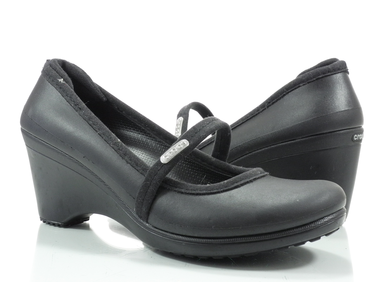 Crocs Ginger 7 M Womens Comfortable Work Shoes Black Leather Mary Janes Heels | EBay
