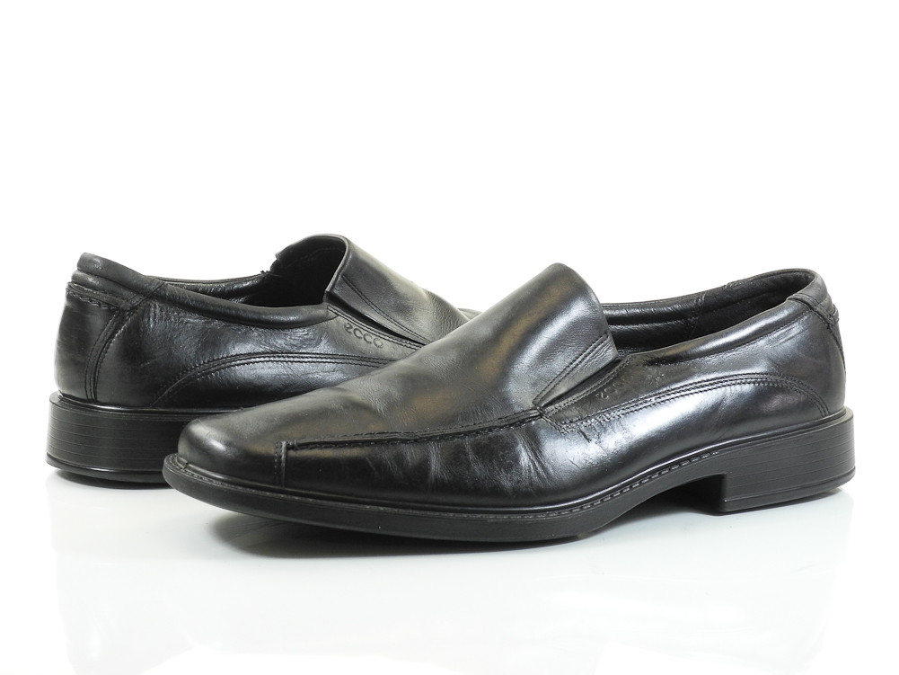 ecco 47 13 13 5 m mens shoes black leather stretch loafers