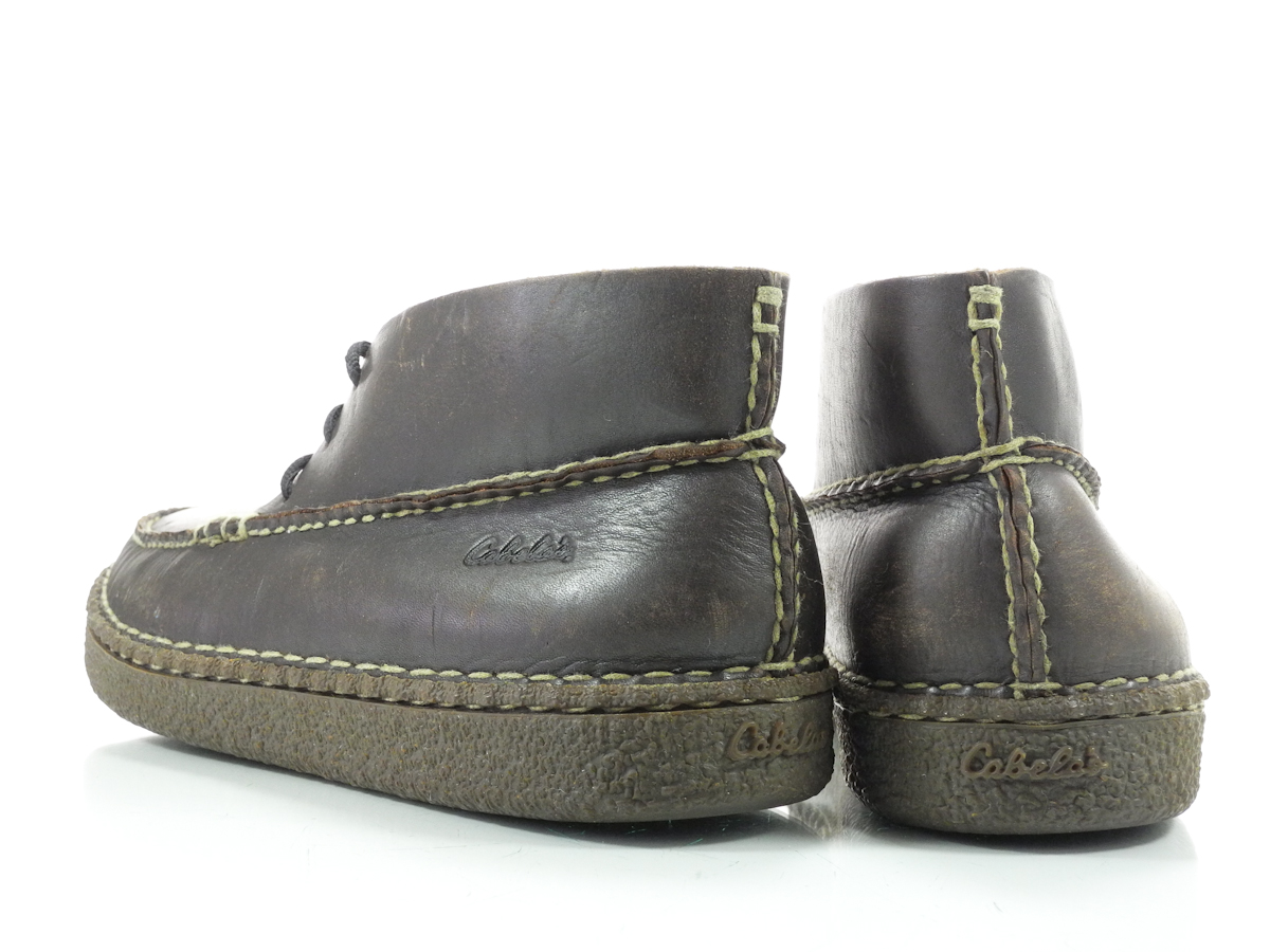 cabelas 12 m mens boots brown leather moccasin lace