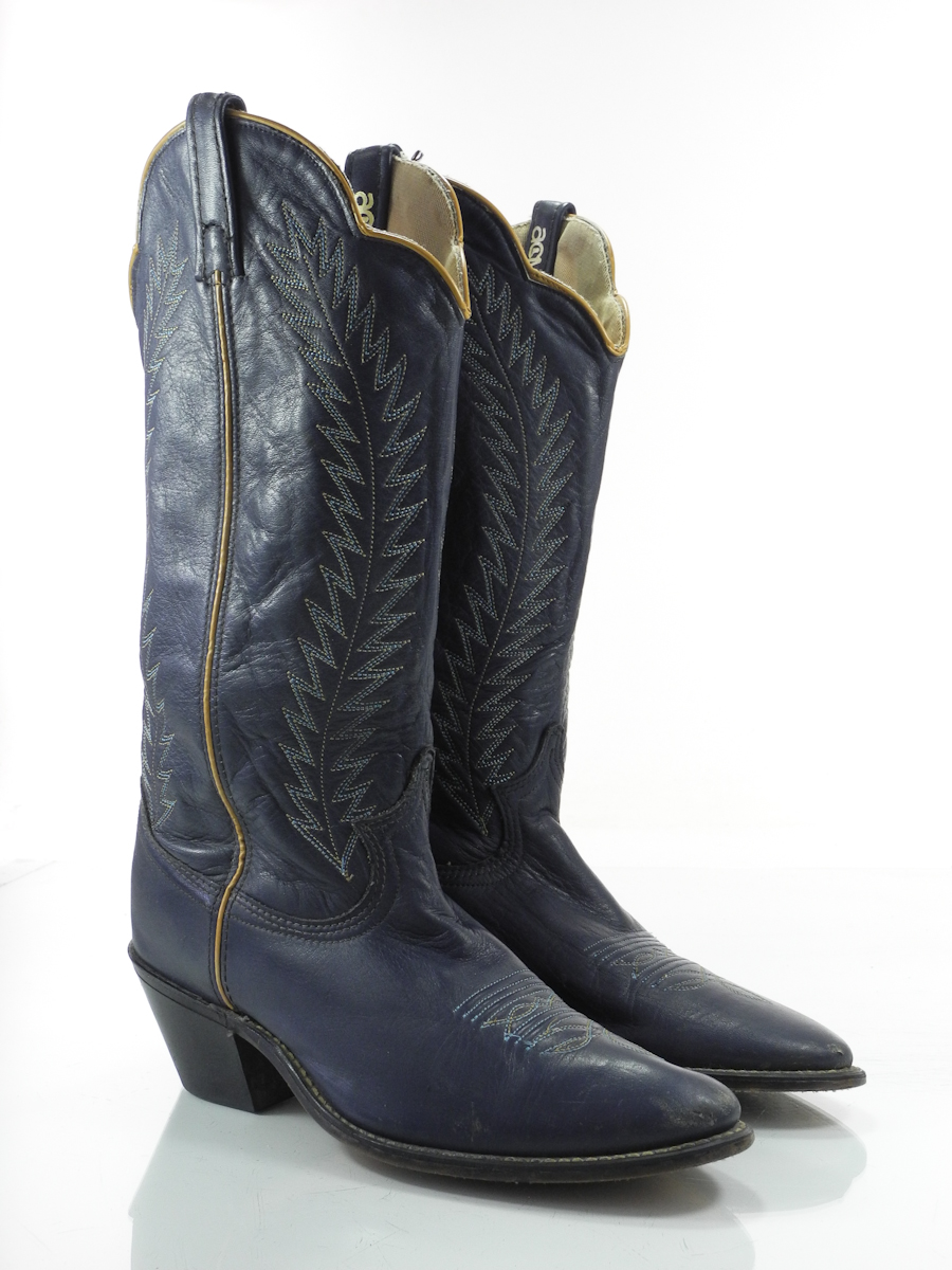 acme 9 m womens cowboy boots navy blue leather western
