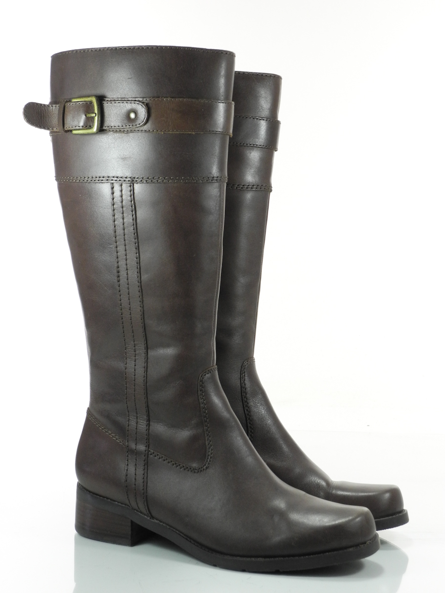 st johns bay 8 m womens boots brown leather knee high