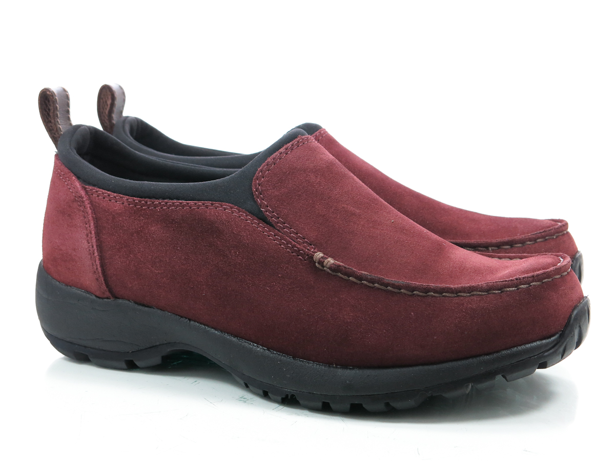 lands end 9 d womens shoes burgundy suede loafers slip on