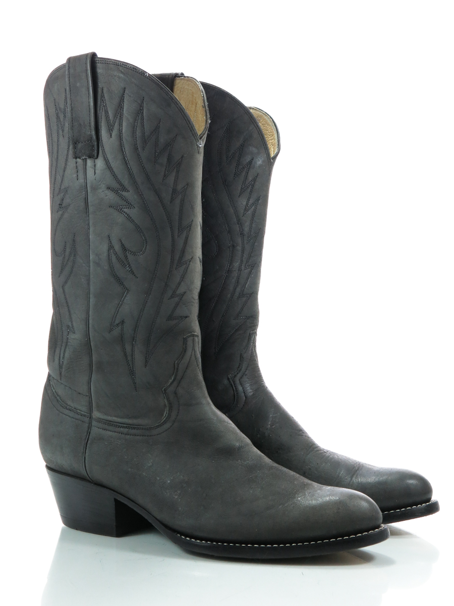 tony leather 9 d mens cowboy western boots charcoal gray