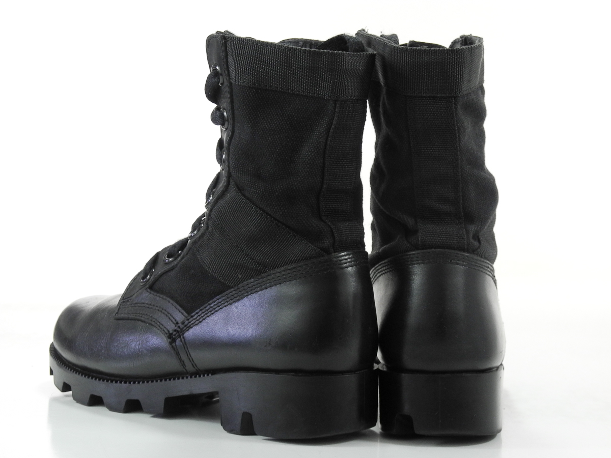 4 r mens boots black leather steel toe work combat