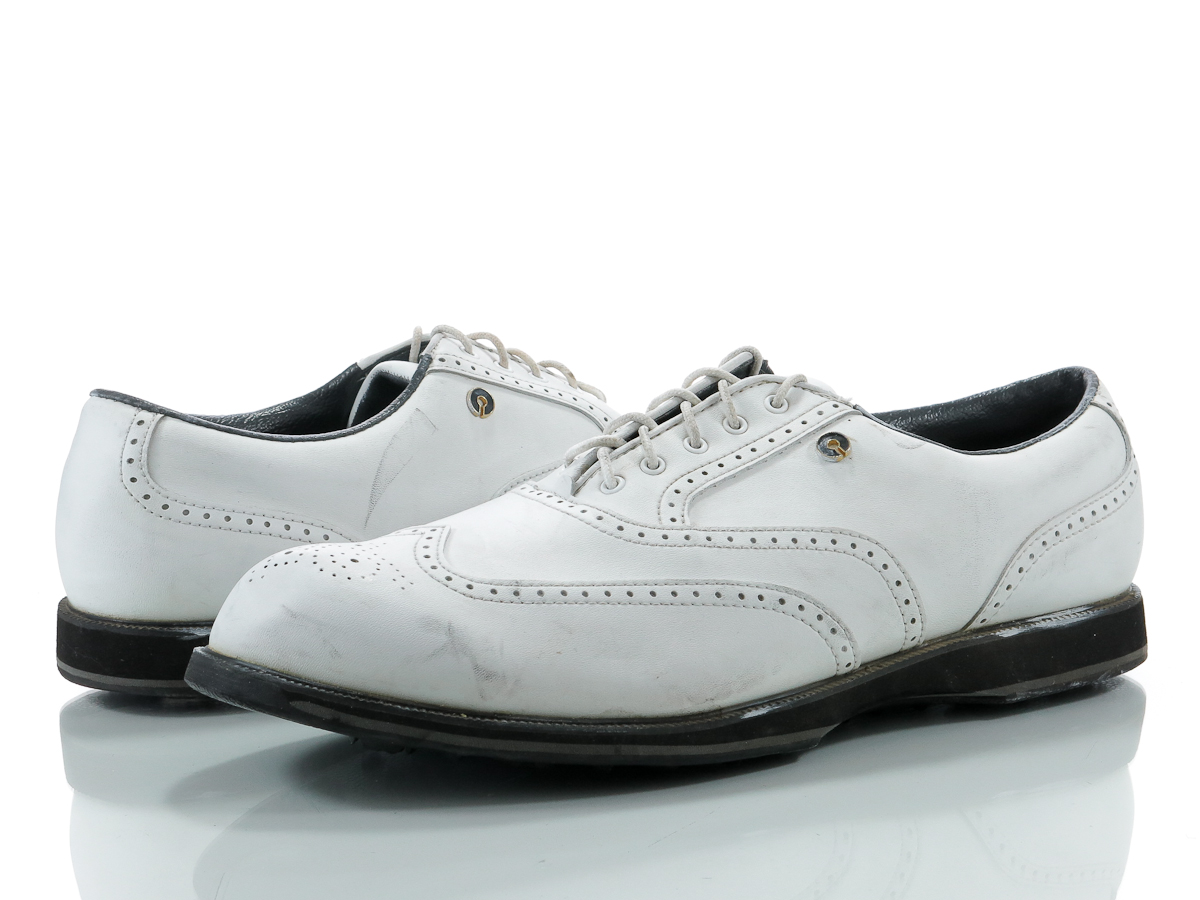 Mens White Wingtip Golf Shoes