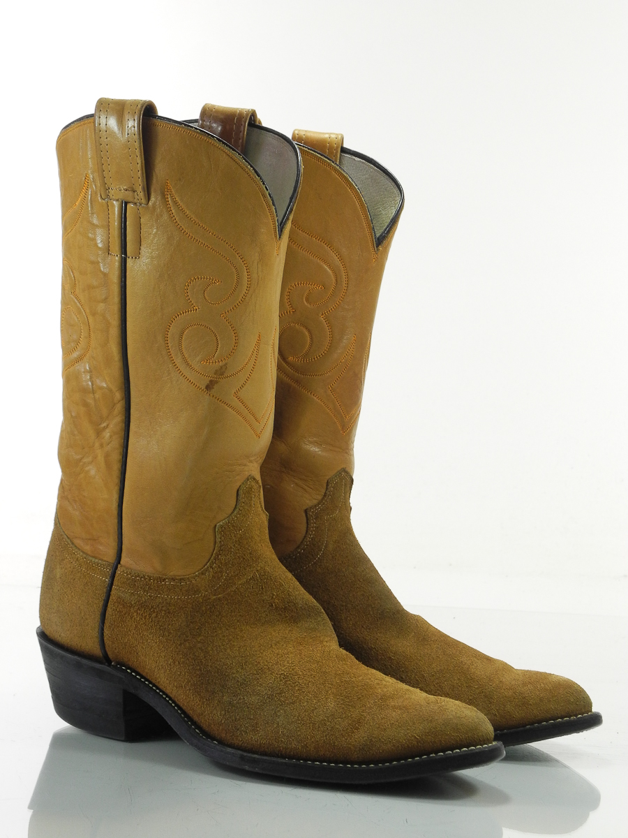 olathe 10 b mens cowboy western boots brown suede leather