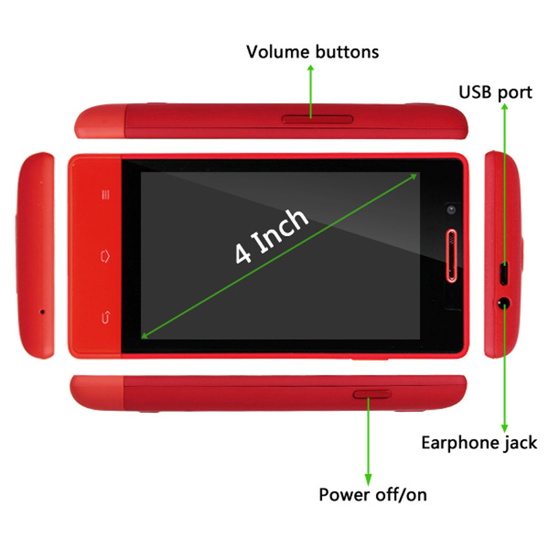 "DB Power 4"" Fashion Red New Cubot C9+ Smartphone Touch Screen Android Dual Sim GSM Mobile at Sears.com"