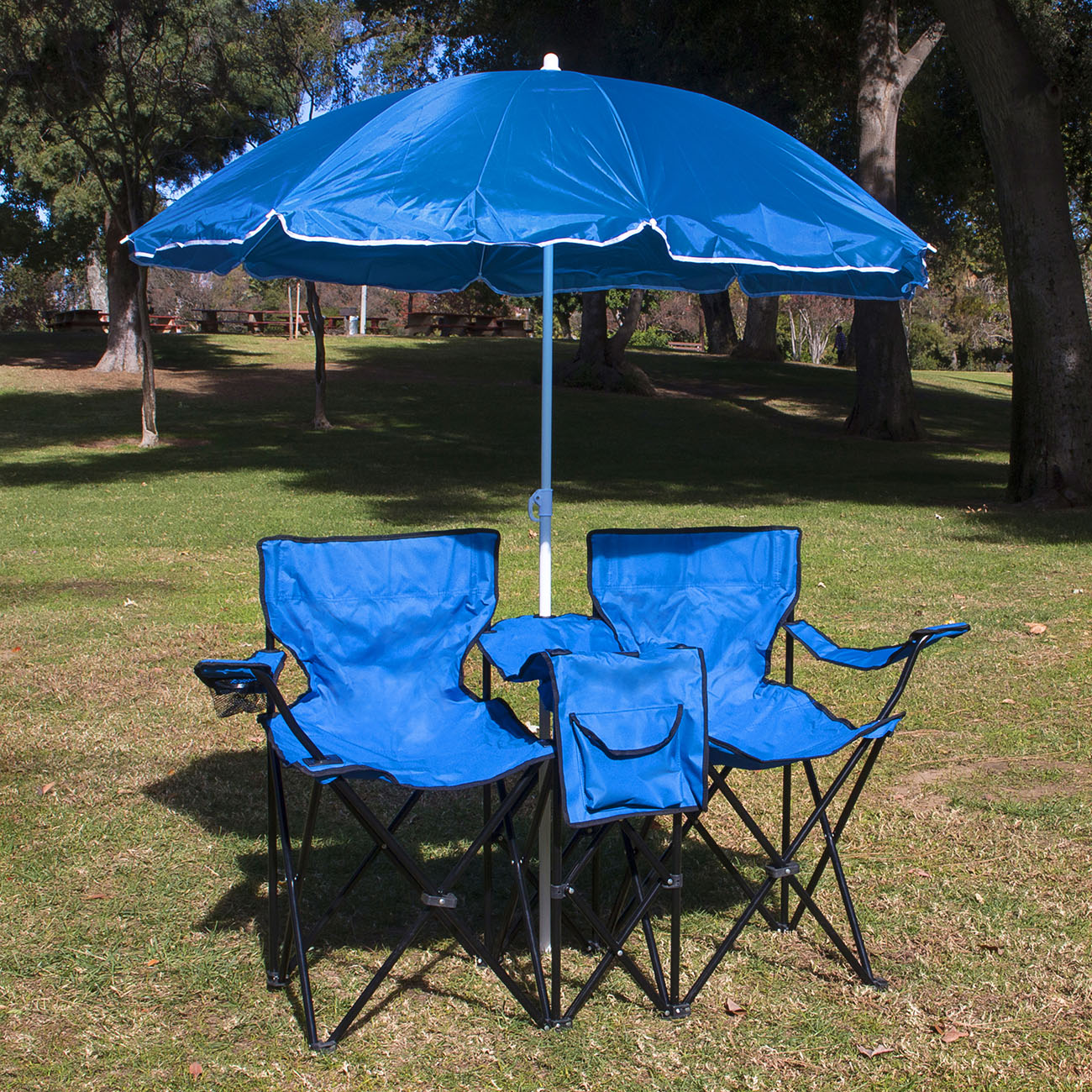 Picnic Fold Up Double Folding Chair w Umbrella Table Cooler Beach Camping Cha
