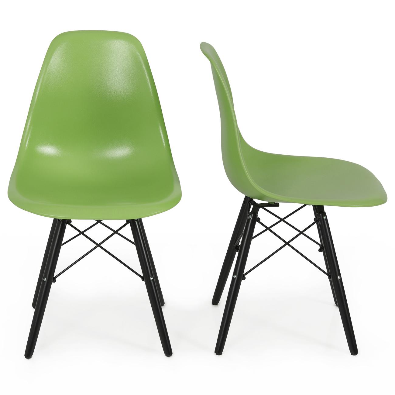 set of 2 mid century eames style dsw eiffel side chair dowel black wood base ebay. Black Bedroom Furniture Sets. Home Design Ideas