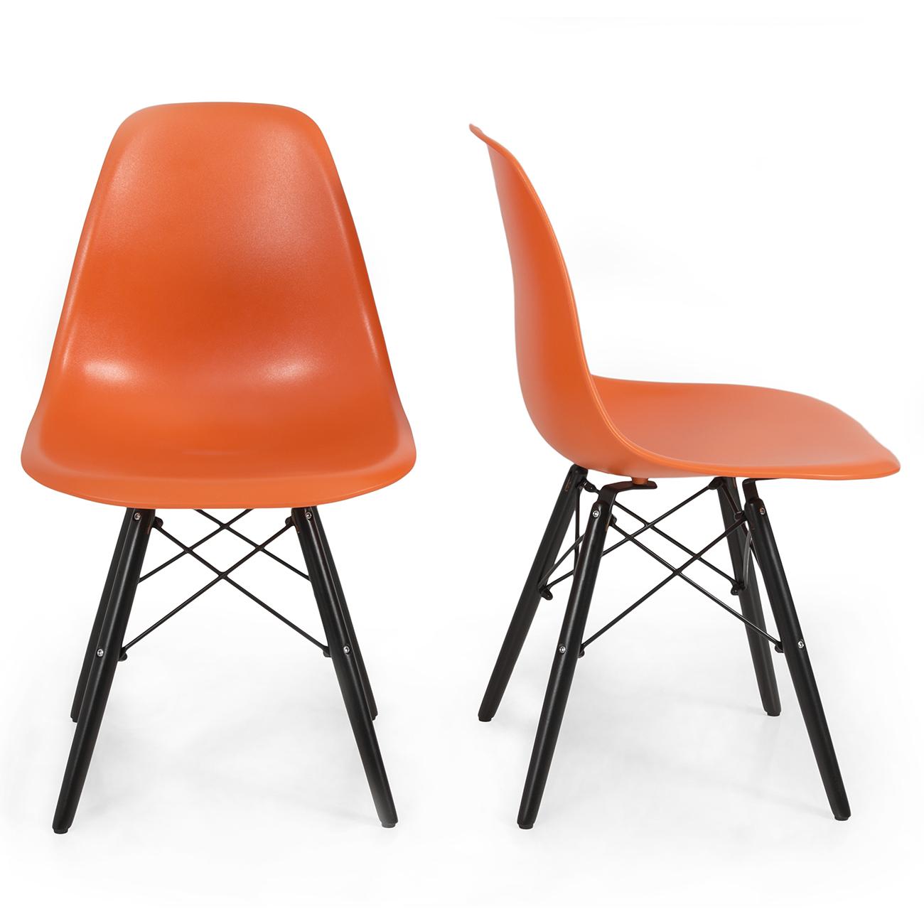 Set of 2 mid century eames style dsw eiffel side chair dowel black wood bas - Eames dsw eiffel chair ...