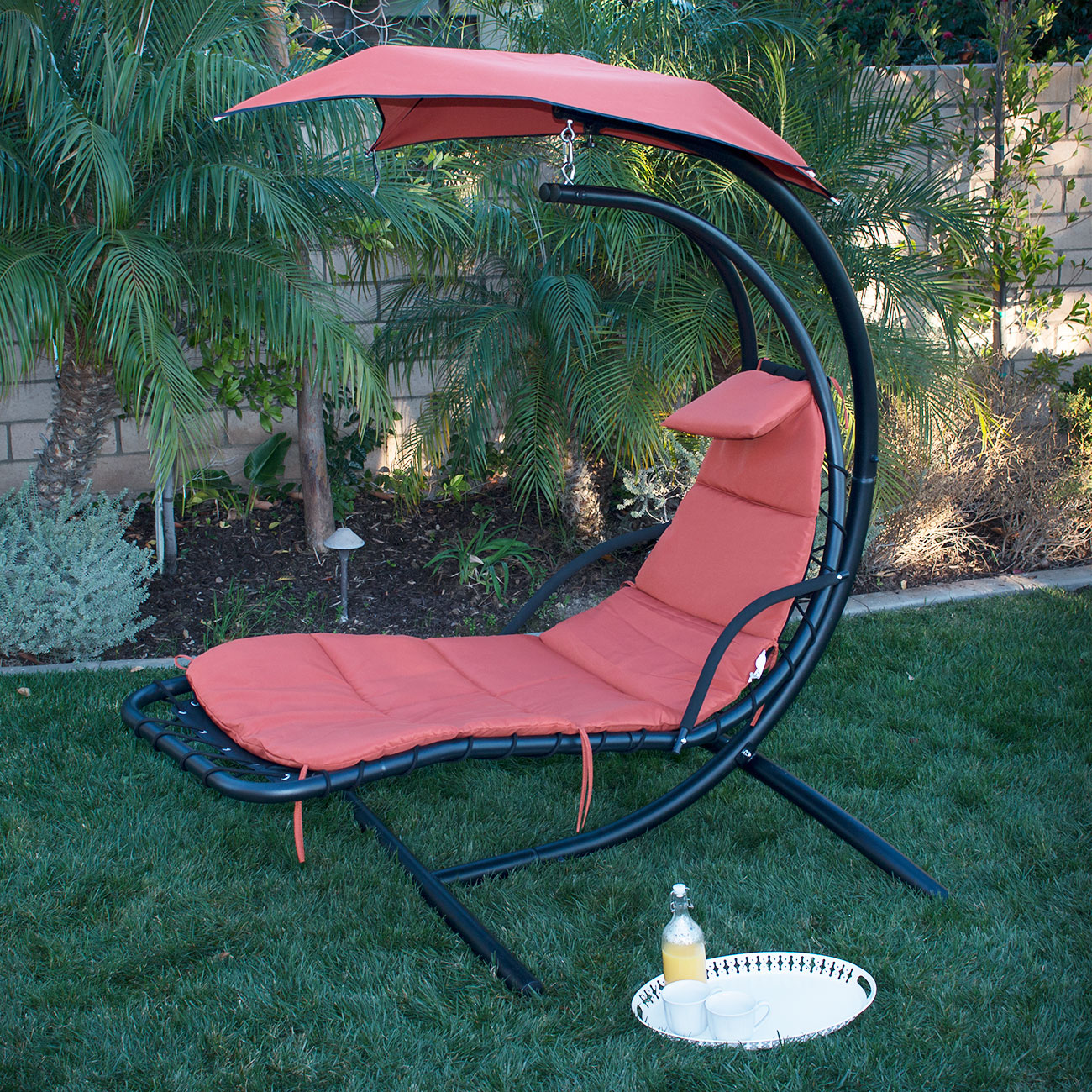 New Swing Hammock Chair Canopy Hanging Chaise Lounger Chair Arc Stand Air Porch Ebay