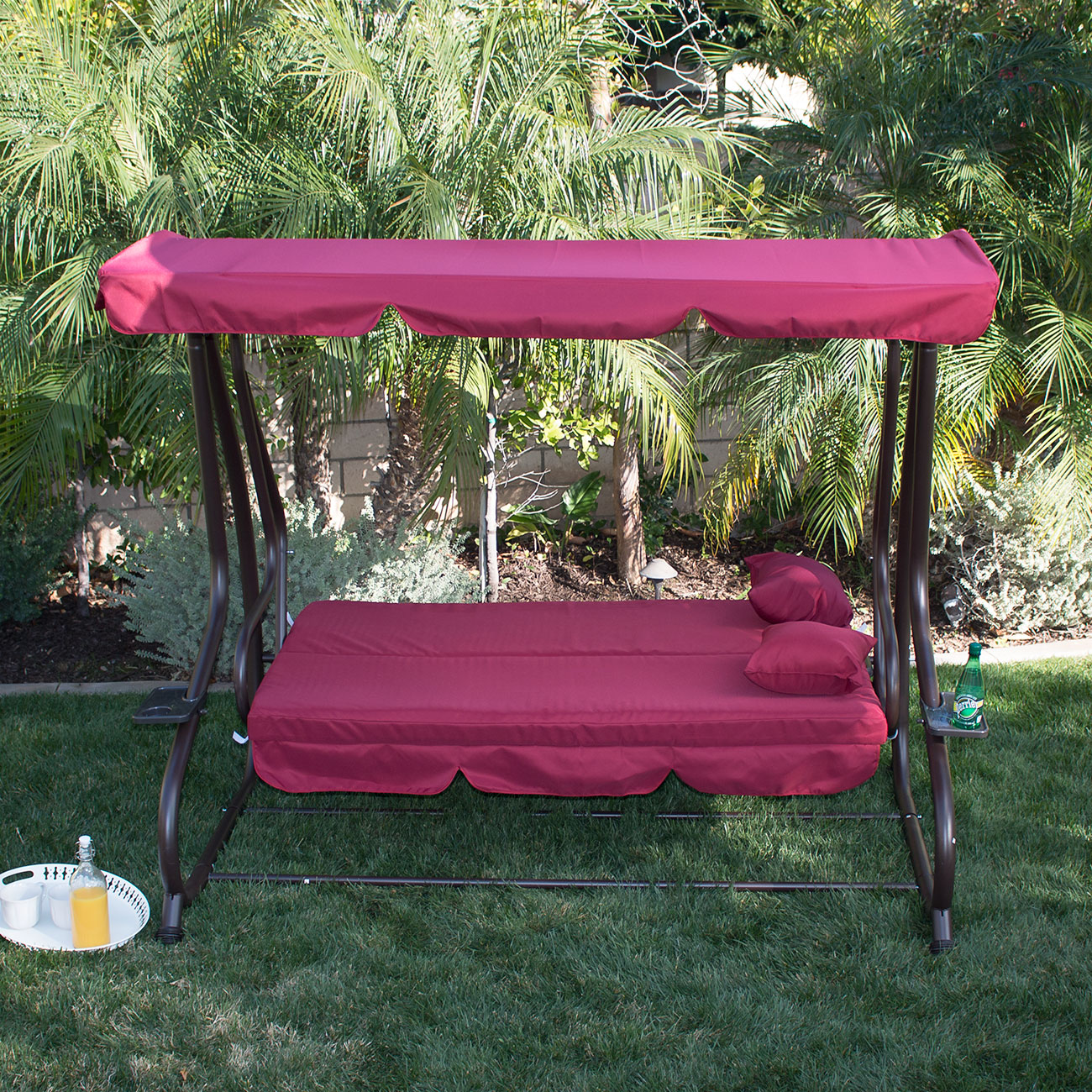 outdoor burgundy canopy swing bed patio deck garden porch seat furniture chair. Black Bedroom Furniture Sets. Home Design Ideas