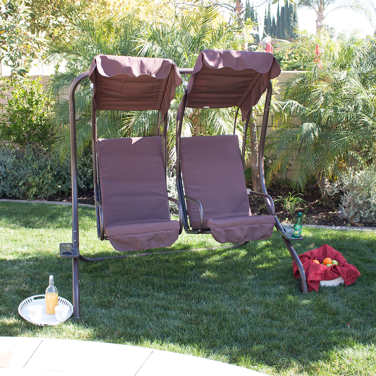 new outdoor swing set 2 person canopy patio