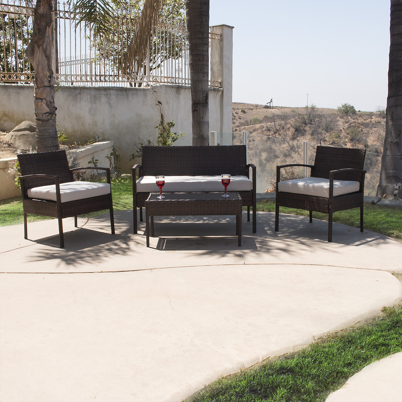 durable 4pc patio furniture set cushioned outdoor wicker rattan garden