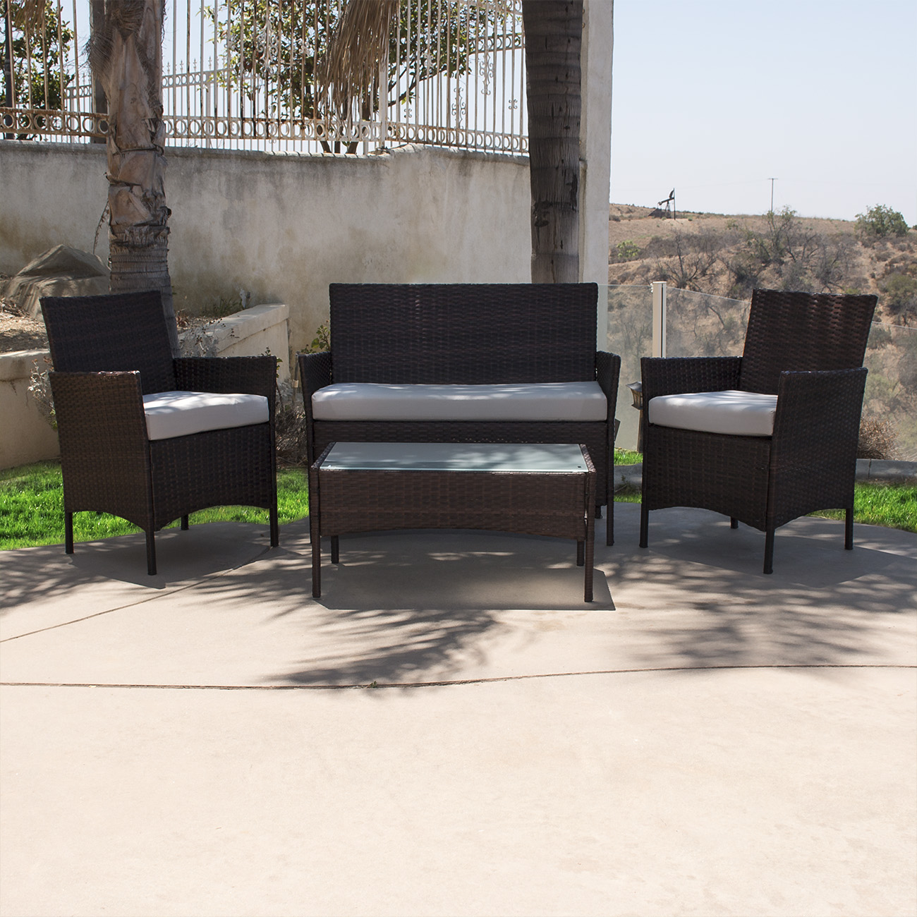 4PCS Outdoor Rattan Wicker Patio Garden Sofa Couch ...