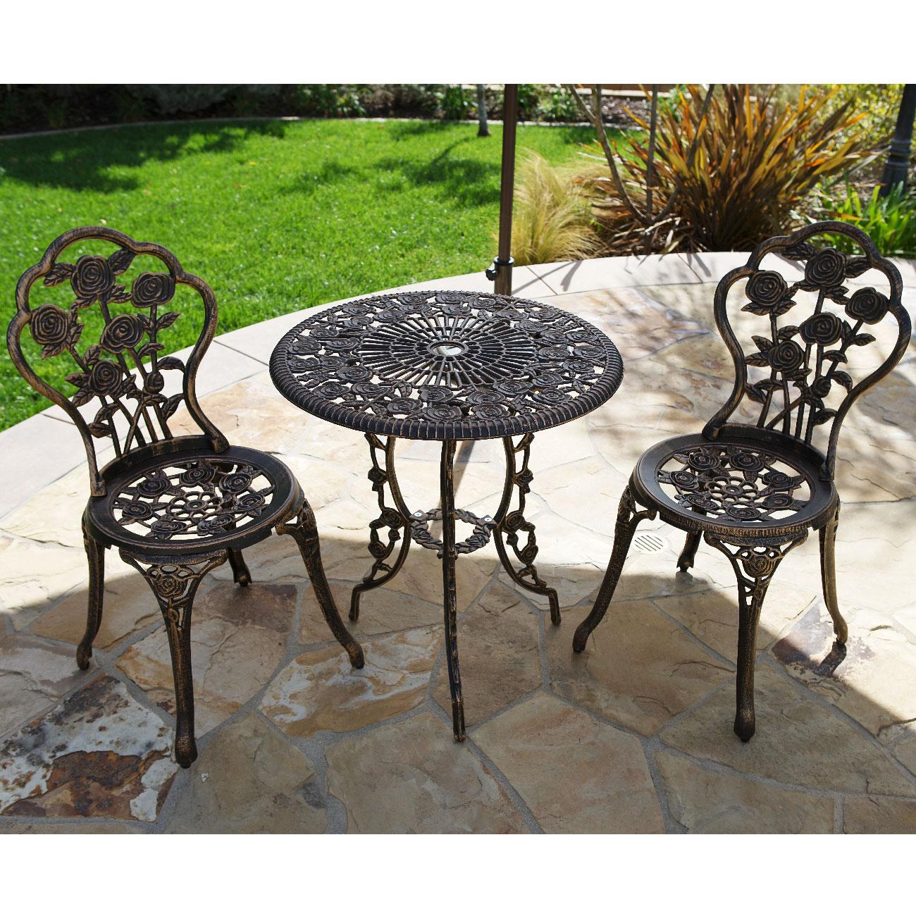 Outdoor Patio Furniture Aluminum Frame: Outdoor Patio Furniture Cast Aluminum Tulip Design Bistro