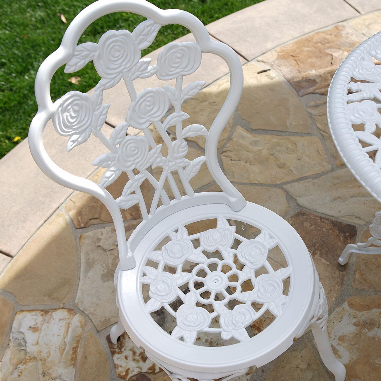 3 un. aluminio fundido muebles del patio Bistro Conjunto de mesa y ...