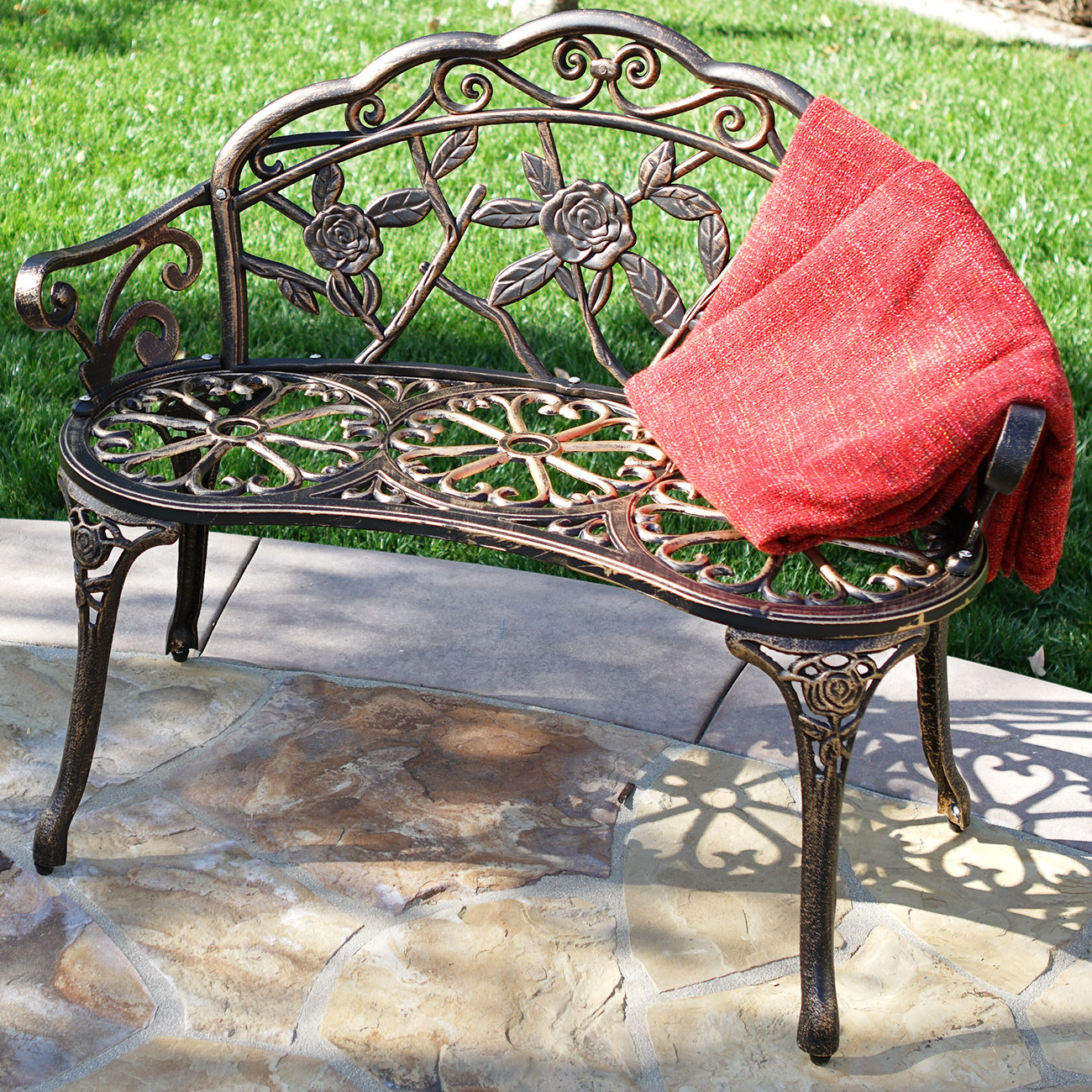 Cast Iron Bronze Antique Rose Style Outdoor Patio Garden Park Bench 39 Inch Auctions Buy And