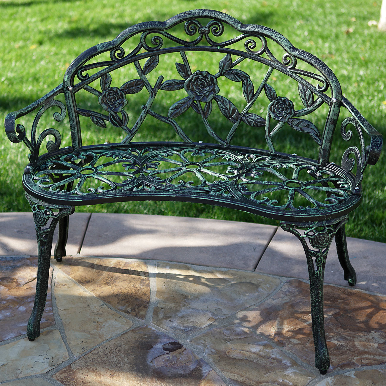 New Cast Iron Green Antique Rose Style Outdoor Patio Garden Park Bench 39 Inch Ebay