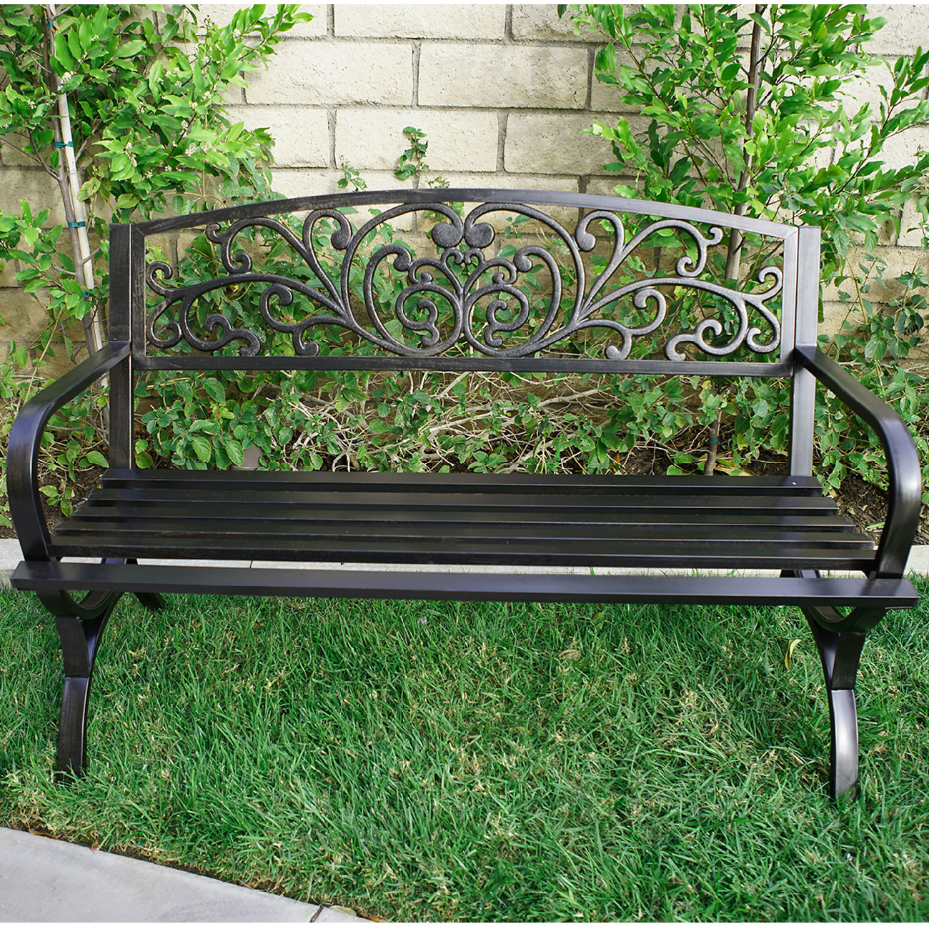 Outdoor Metal Bench Garden Patio Furniture Seat Yard Porch Park Backyard D Cor