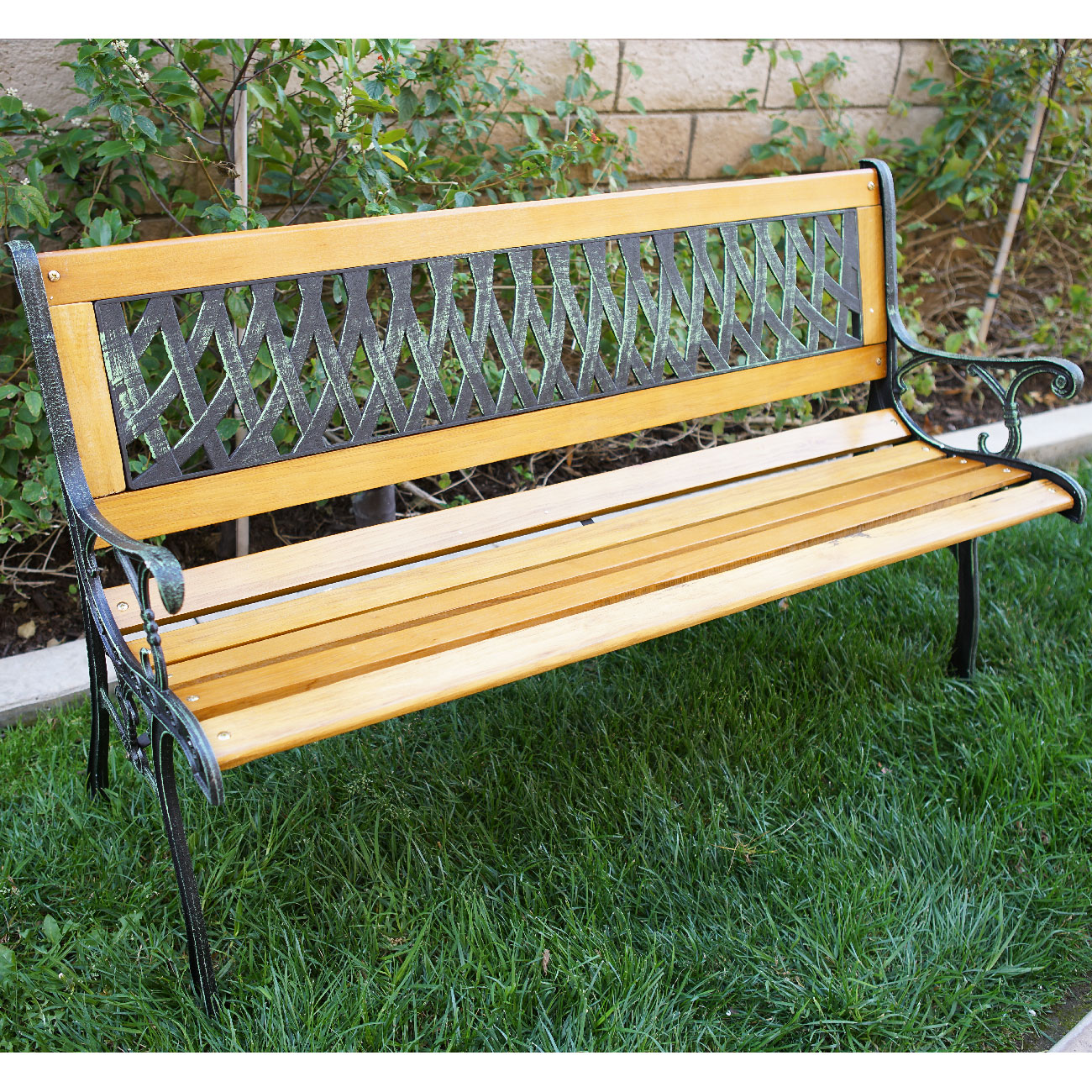 outdoor 50 patio porch deck hardwood cast iron garden bench chair love seat new - Wooden Garden Furniture Love Seats