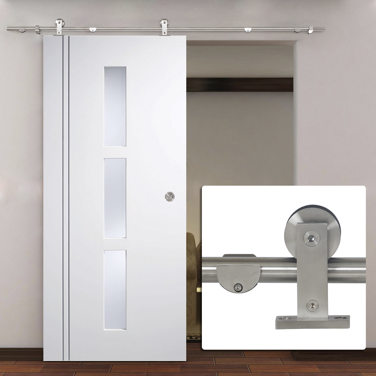 modern stainless steel interior sliding barn wood door hardware set