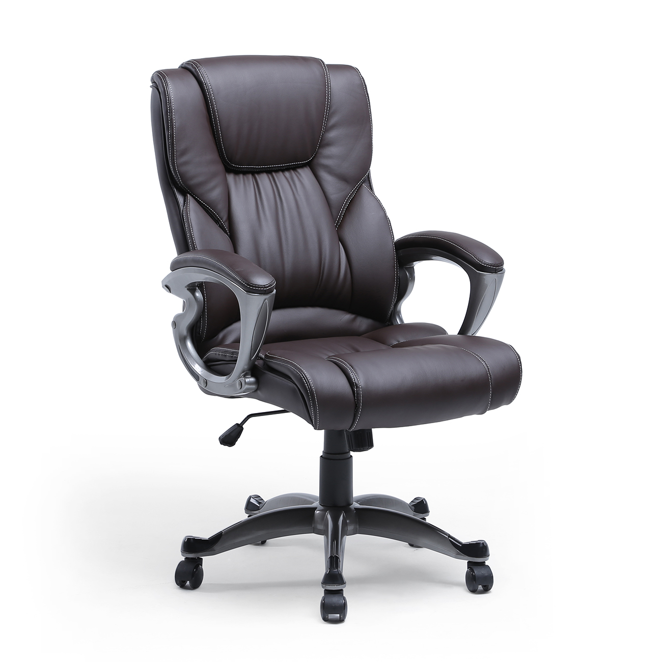 luxury high brown pu leather executive office chair desk task computer boss. Black Bedroom Furniture Sets. Home Design Ideas