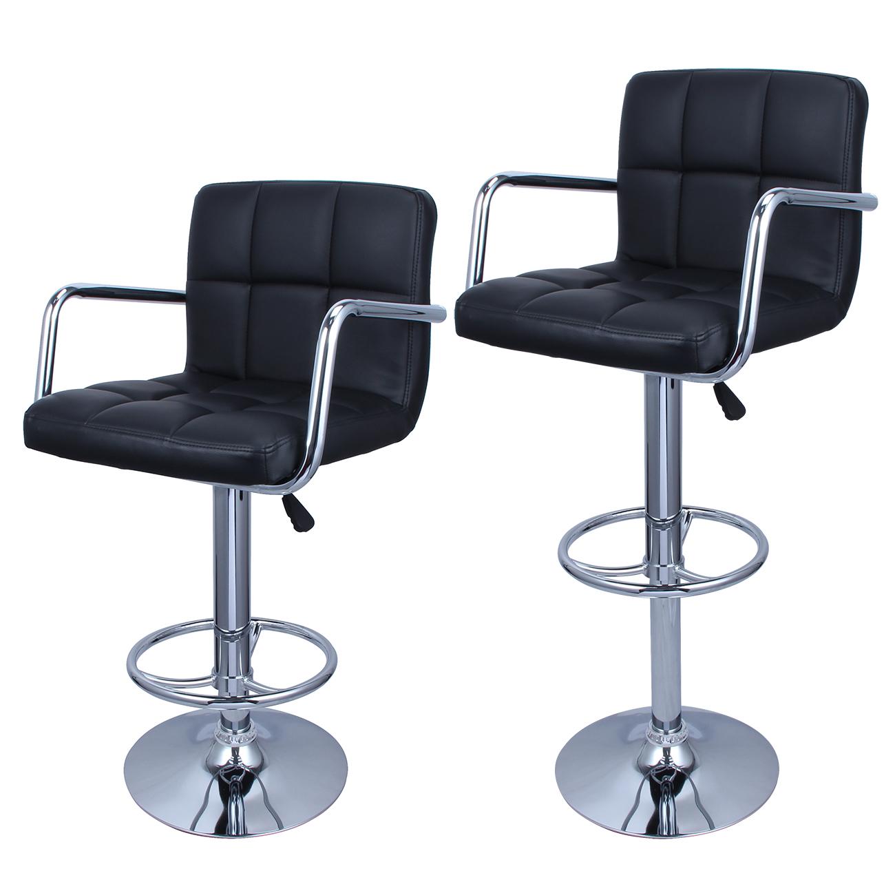 2 Black PU Leather Modern Design Adjustable Swivel  : 048 gm 481161 from www.ebay.com size 1300 x 1300 jpeg 500kB