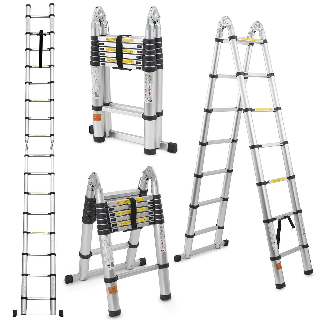 14 Ft Aluminum Ladders : Multi purpose ft aluminum telescopic ladder