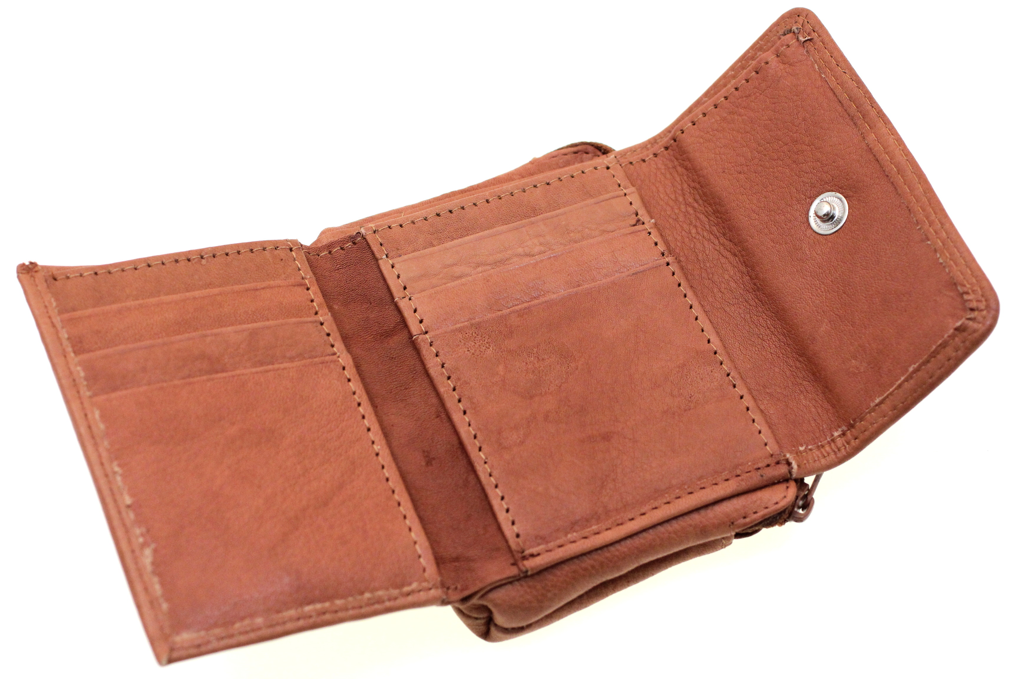 Womens Genuine Leather Wallet Button Snap Closed Trifold ...