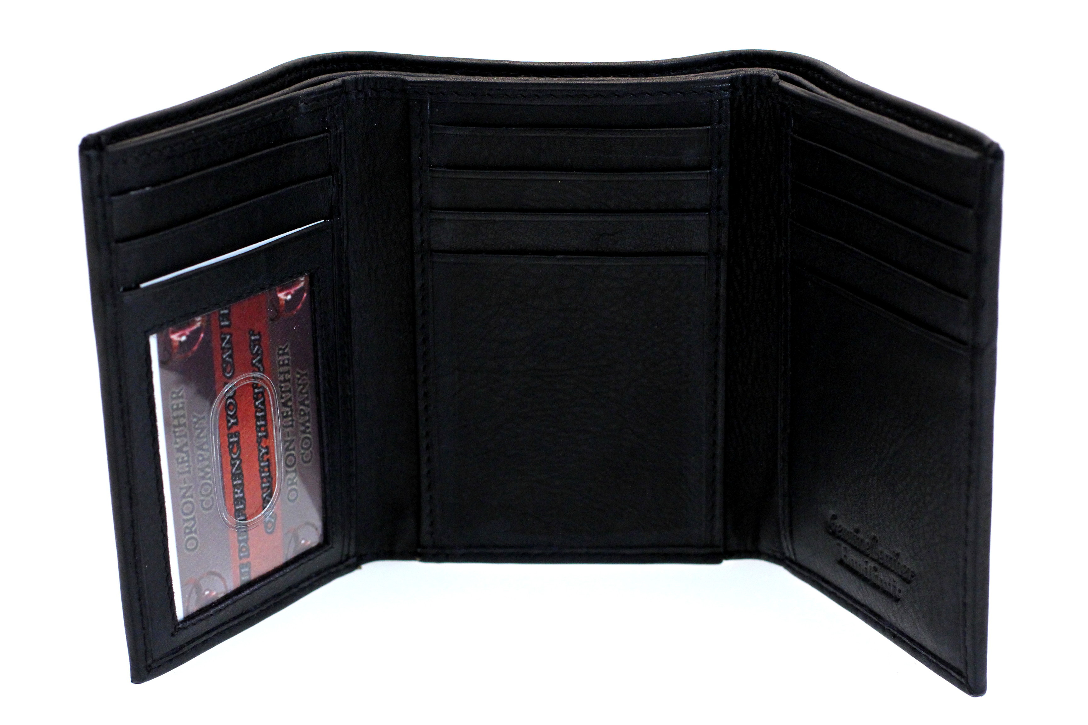 mens trifold wallet tall genuine leather 2 bill sections 10
