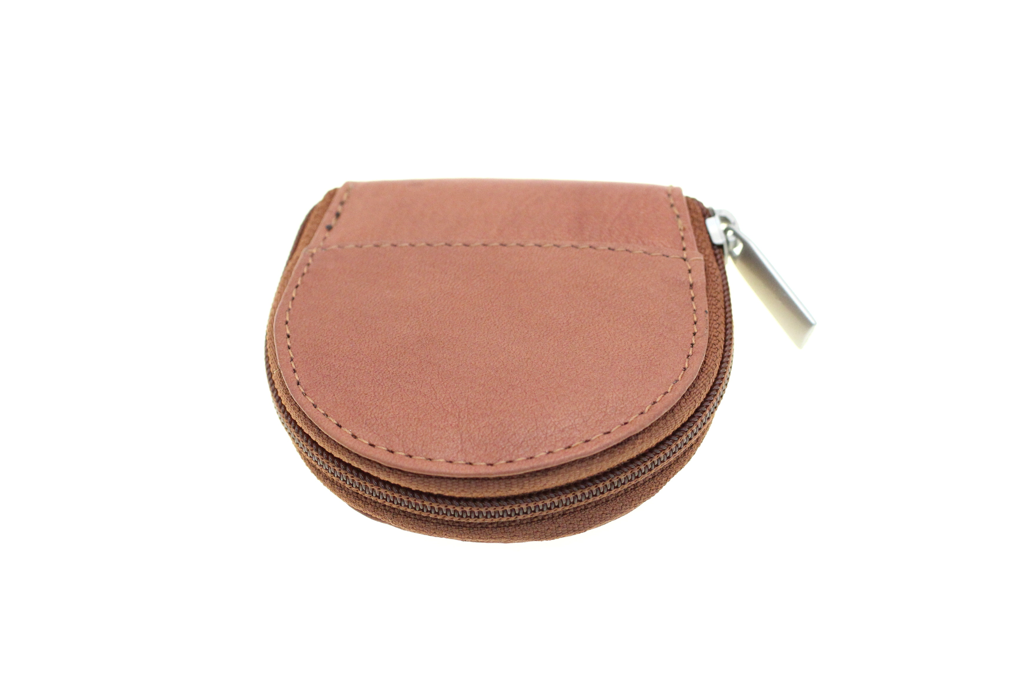Women Coin Purse Change Pouch Genuine Leather Round Zipper
