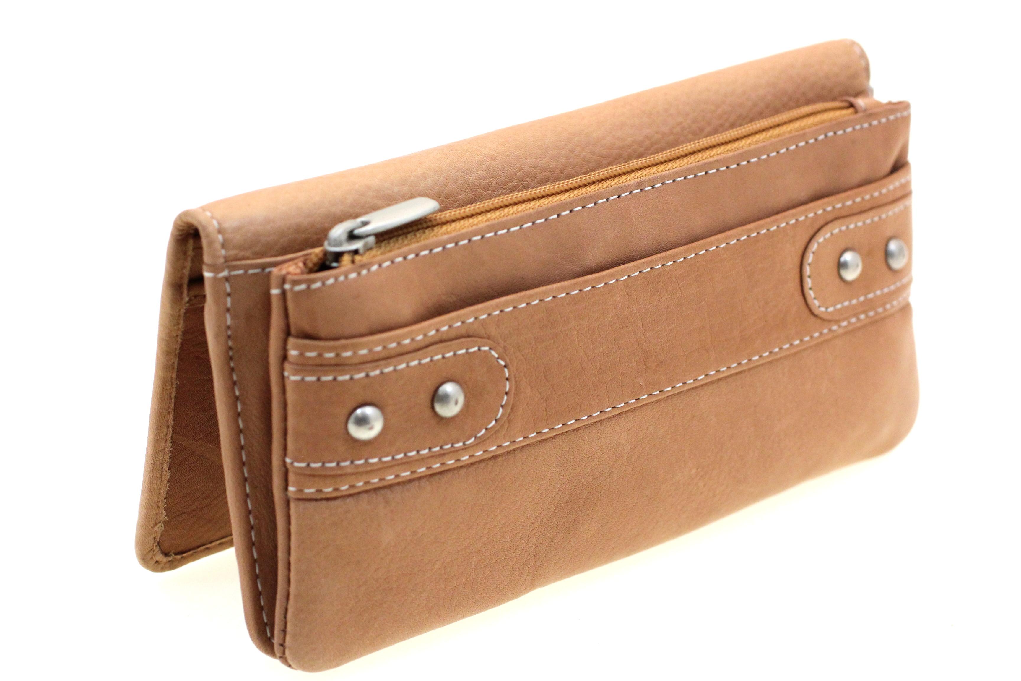 Womens Genuine Leather Clutch Wallet Large Zipper Pocket ...