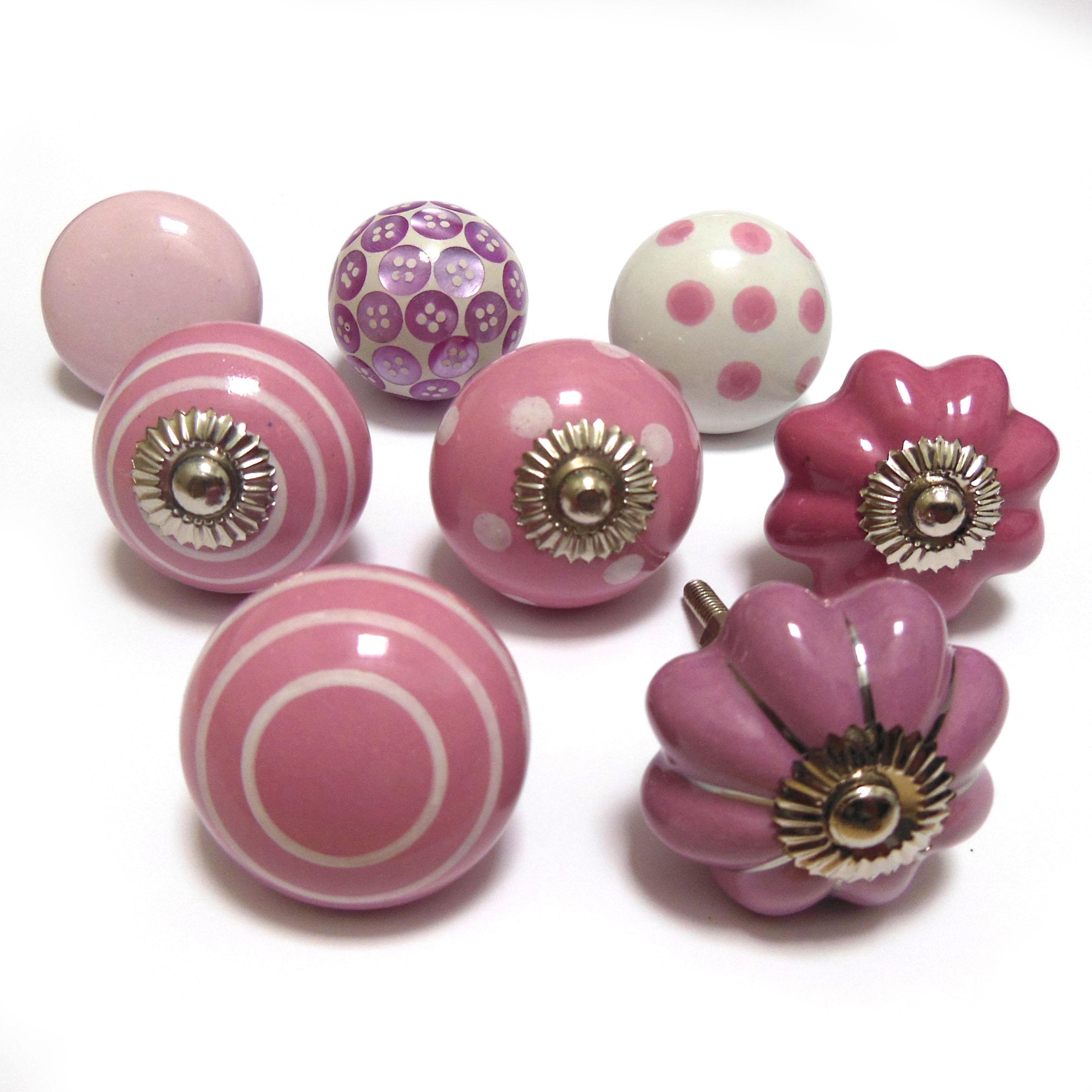 Pushka knobs pink cheap ceramic glass cupboard door knobs for Door knobs ebay