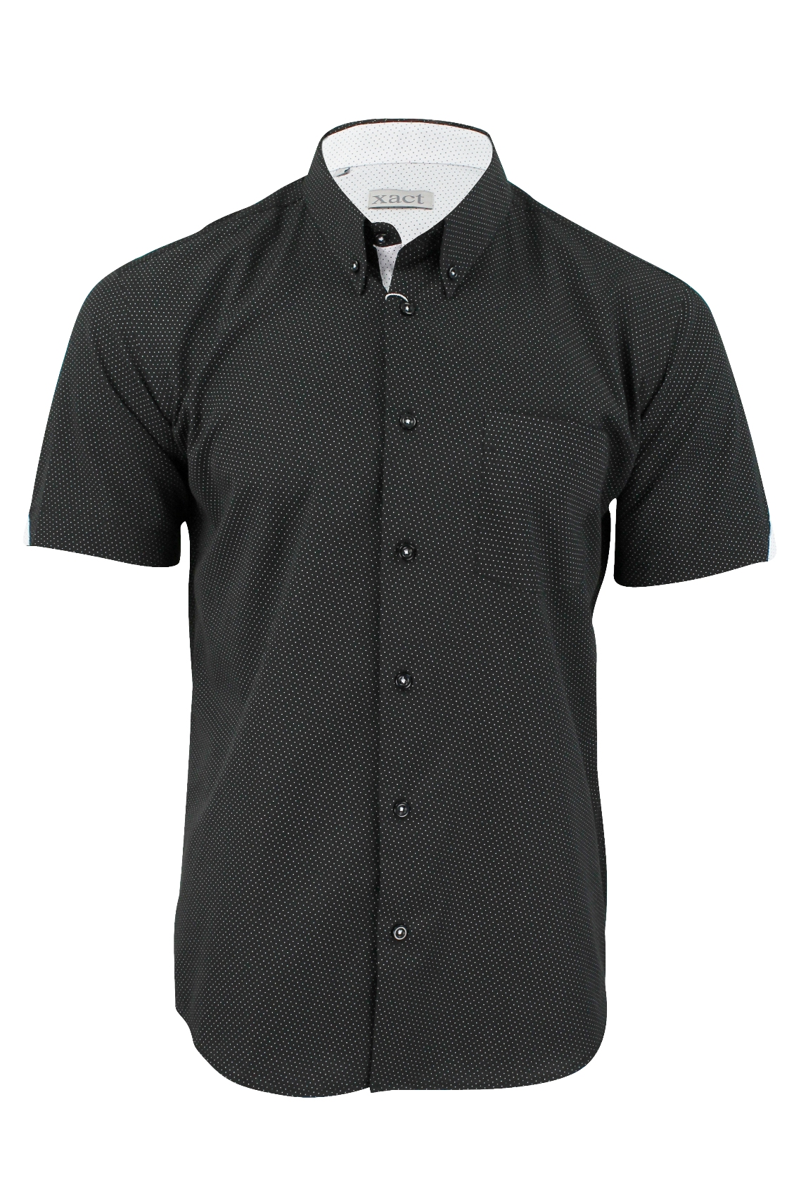 Mens short sleeved shirt by xact clothing mini polka dot for Mens polka dot shirt short sleeve