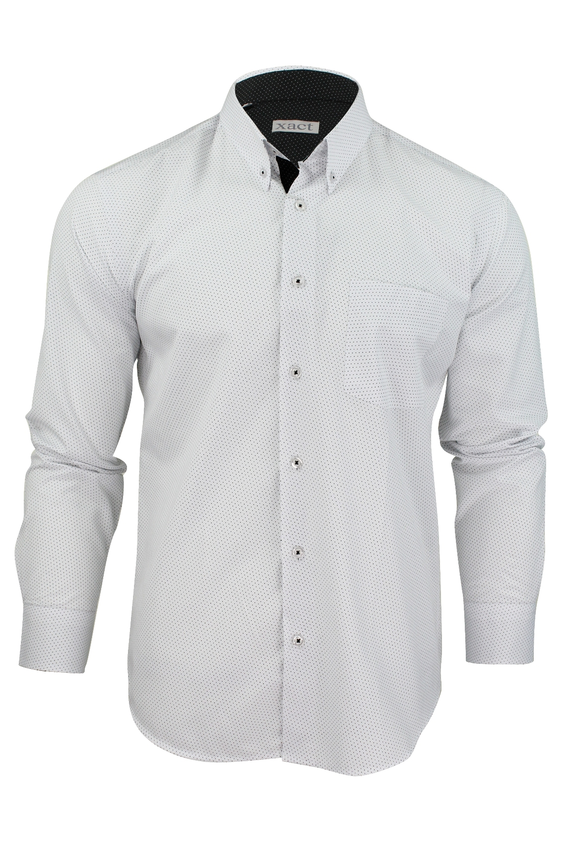 Mens long sleeved shirt by xact clothing mini polka dot ebay for Mens polka dot shirt short sleeve