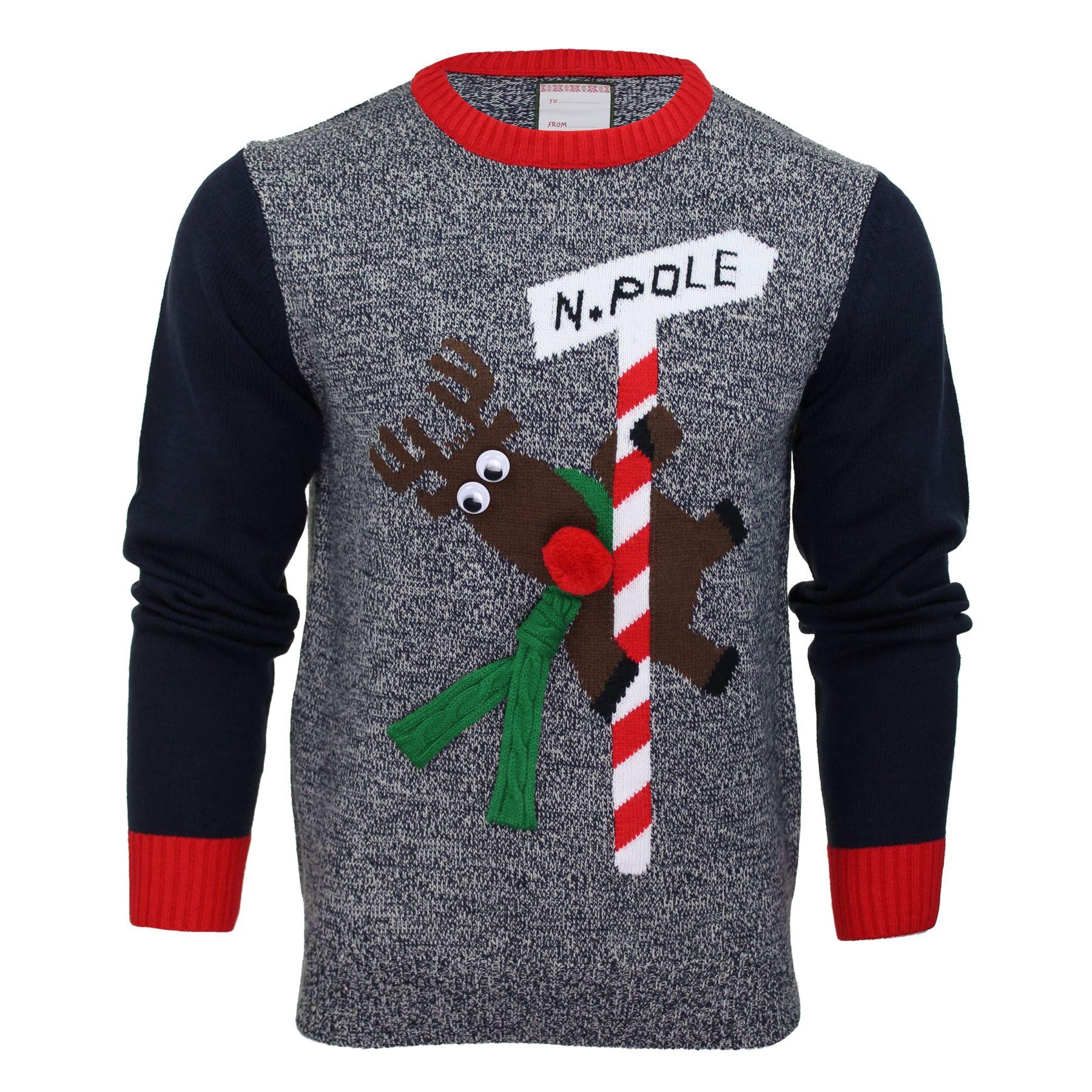 Christmas Elf Jumper Knitting Pattern : Mens Merry Xmas Christmas Jumper Knit Sweater Novelty Santa Elf Penguin eBay