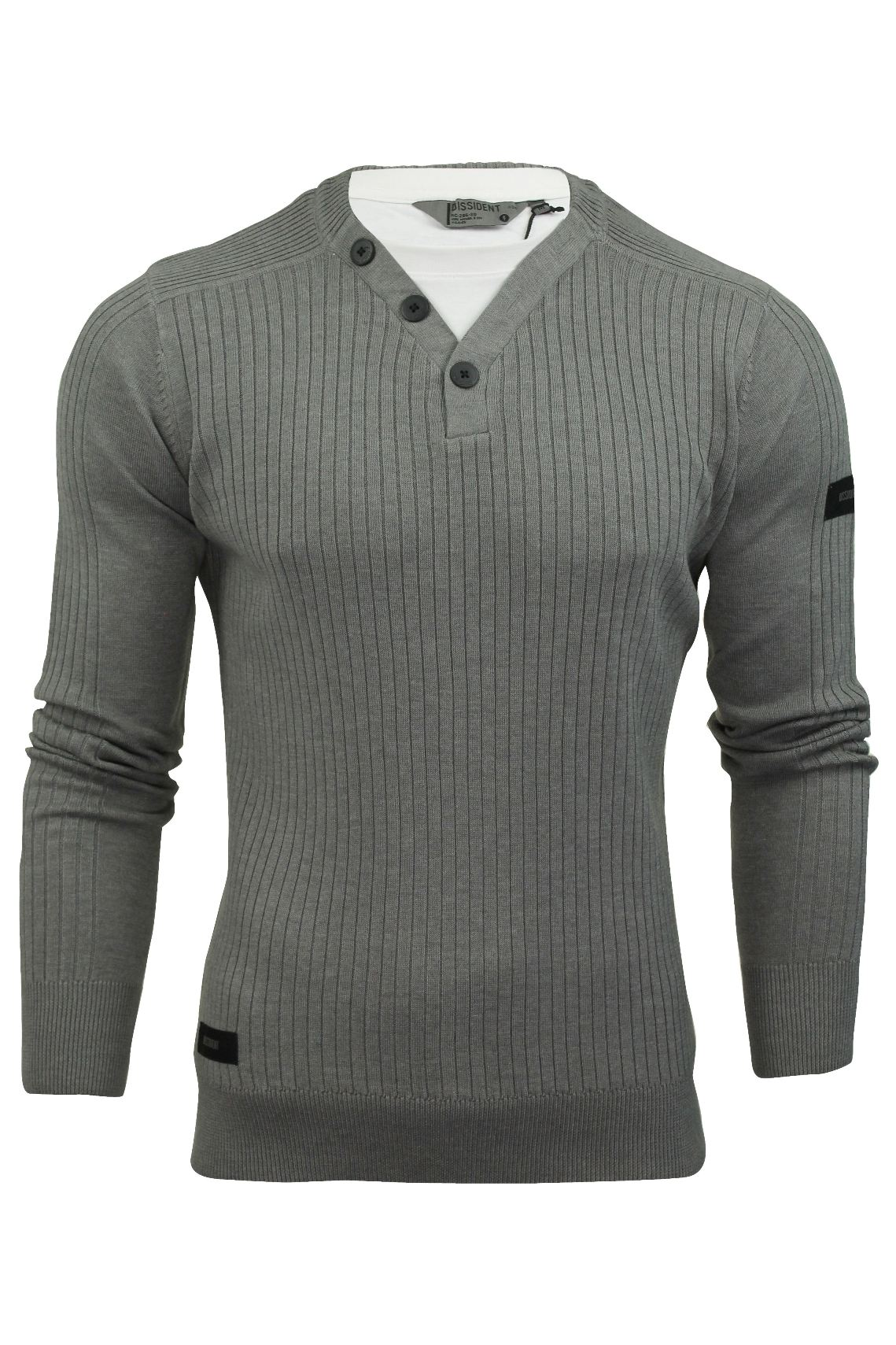 Mens ribbed jumper by dissident with t shirt trim ebay for Mens ribbed t shirts