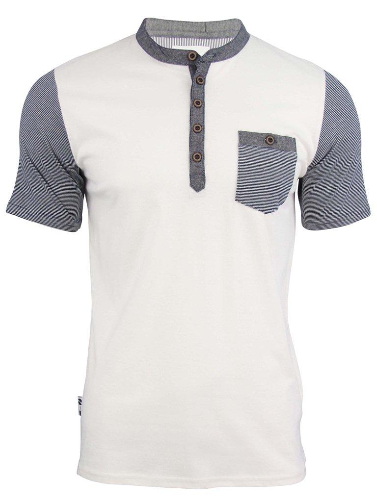 Mens d code grandad collar t shirt 39 tuntex 39 short sleeved Mens grandad collar shirt