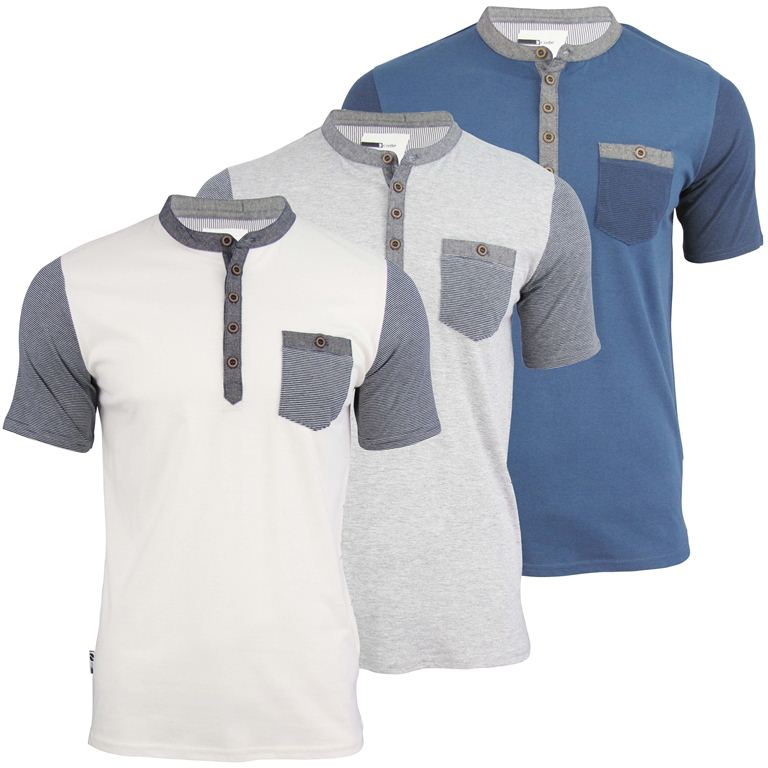 Mens d code grandad collar t shirt 39 tuntex 39 short sleeved for Short sleeve grandad shirt