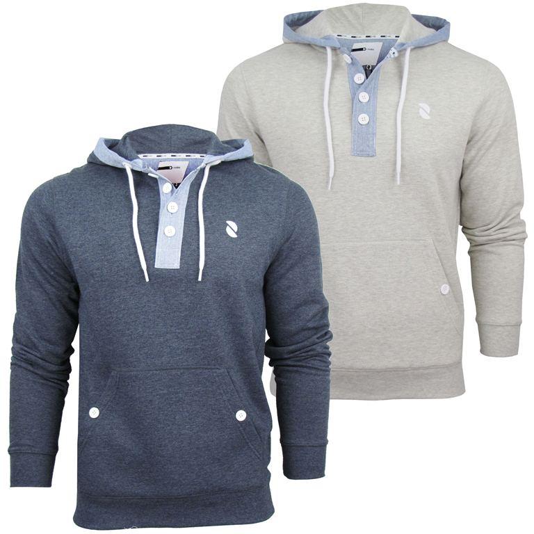 Mens-D-Code-039-Bourne-039-Marl-Hoodie-Hooded-Sweater-Jumper-Denim-Trims
