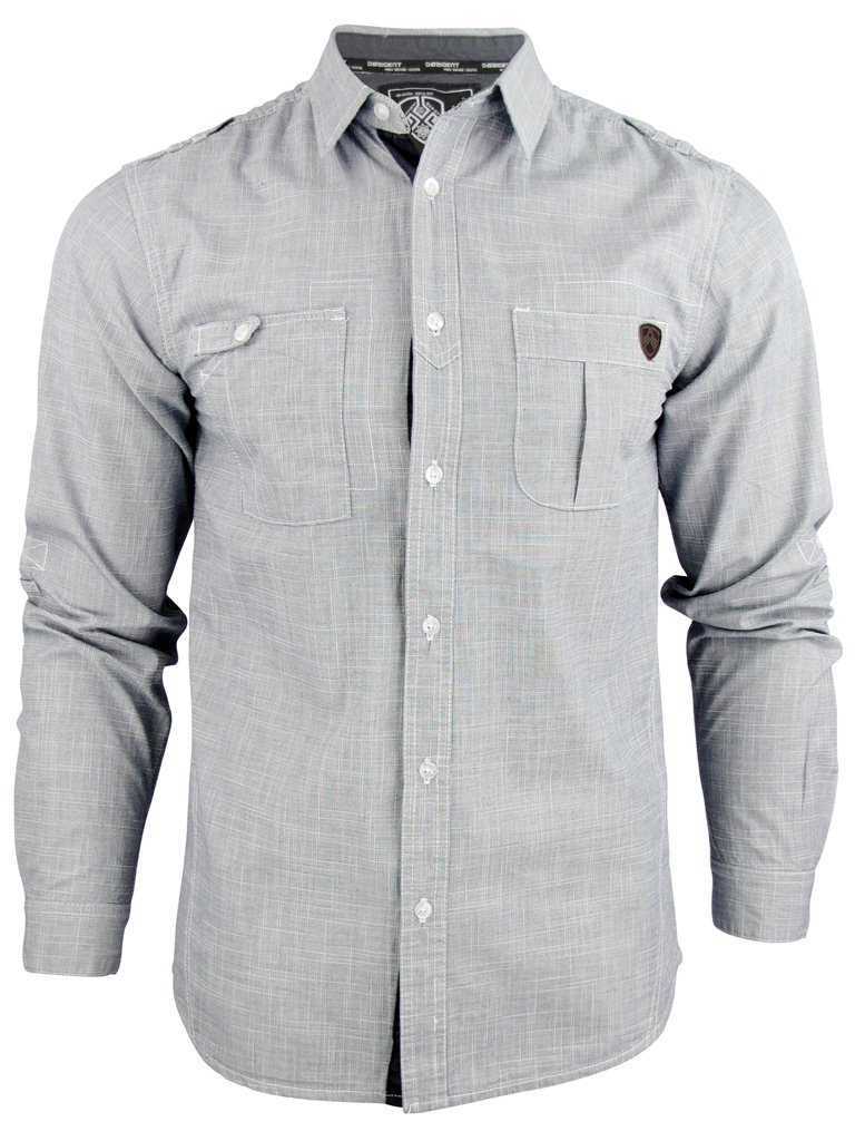 Mens Dissident Shirt 'Hoxton' Straw Weave Roll Up Sleeve