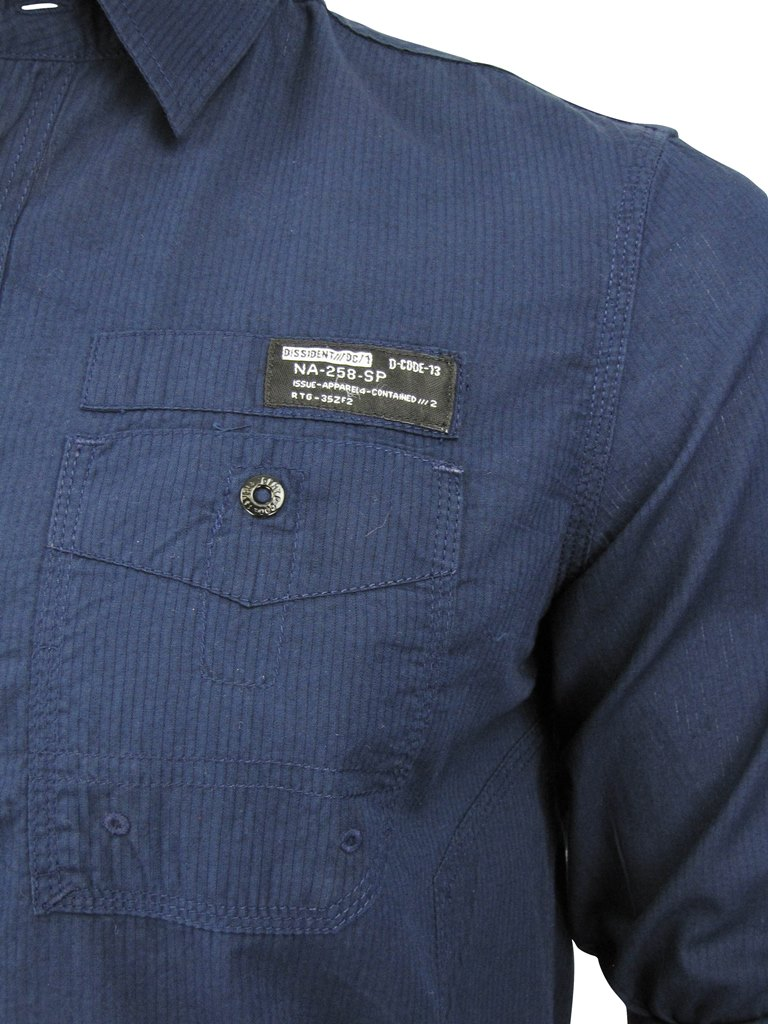 Mens-Fashion-Dissident-Pinstripe-Cognito-Long-Sleeved-Yard-Dyed-Shirt