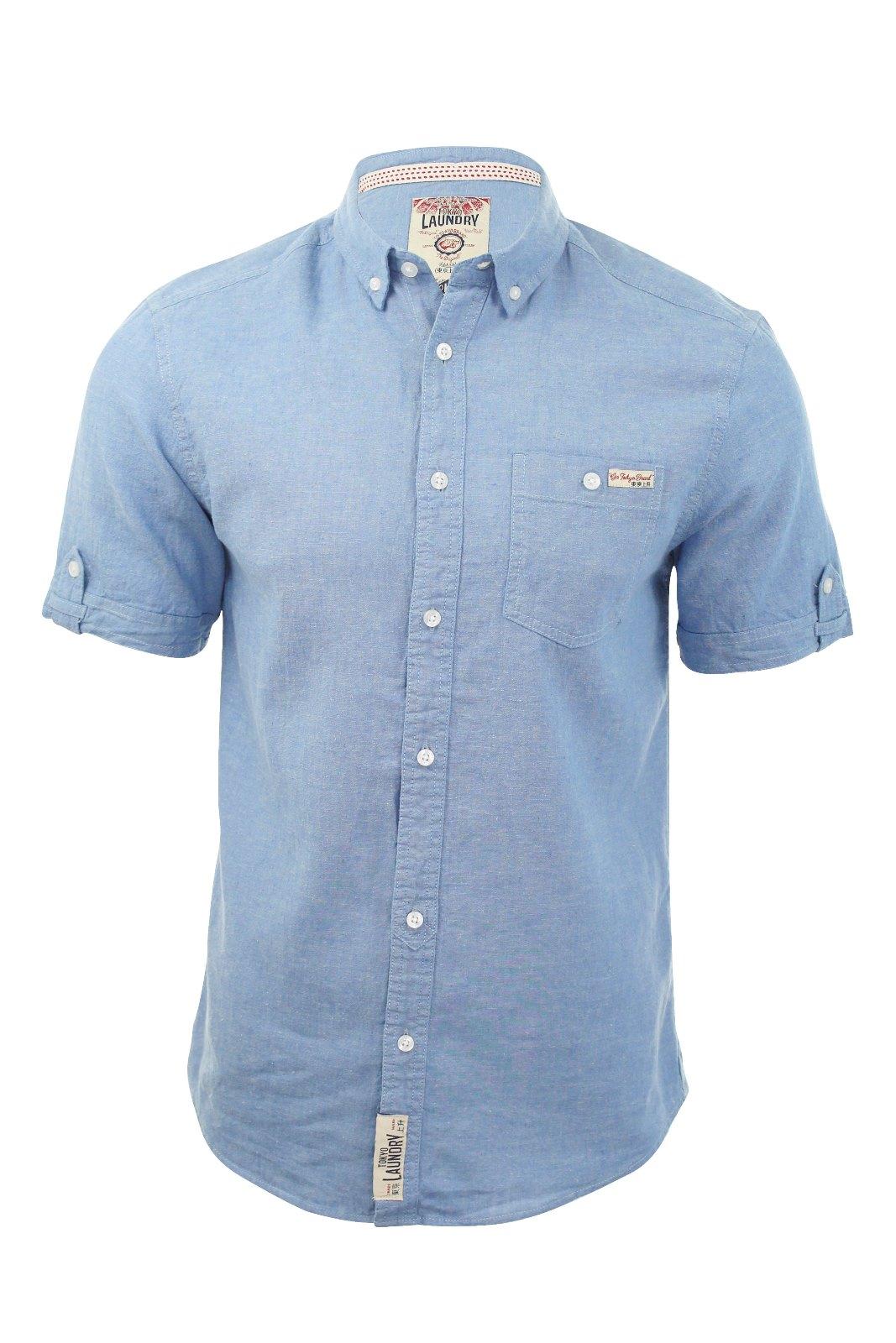 Tokyo laundry mens linen chambray shirt short sleeved ebay for Mens linen dress shirt